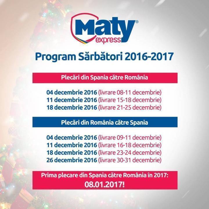Maty Express anunță programul de sărbători pentru transportul de pachete