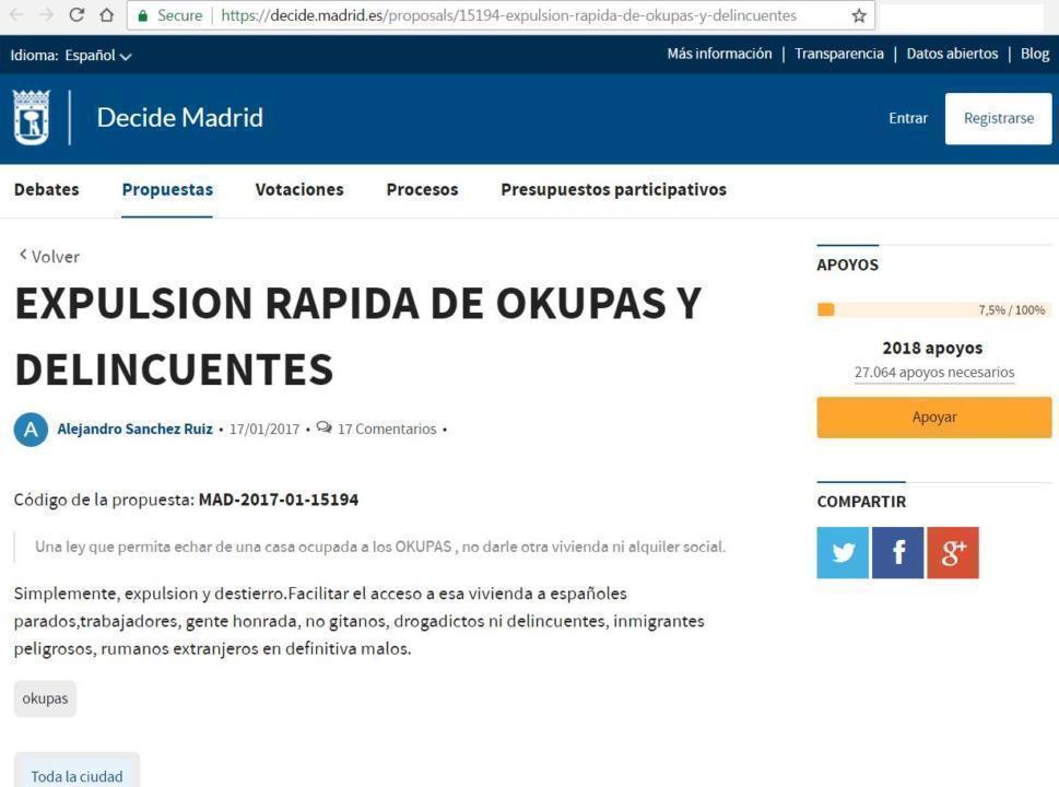 primaria madrid propuneri pentru expulzarea romanilor web